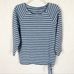 Loft Blue White Striped 3/4 Sleeve Tie Front Top M